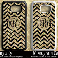 Gold Black Chevron Sparkle Monogram Galaxy S6 Edge Case S3 S4 S5 Tough Case Note 2 3 4 Cover iPhone Zig Zag Personalized *NOT actual Glitter