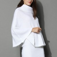 Angora Cape and Skirt Set in White