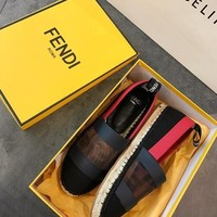 Fendi Black Canvas Espadrilles #767
