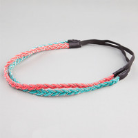 Full Tilt 2 Piece Bead/Braided Headband Coral One Size For Women 23458131301