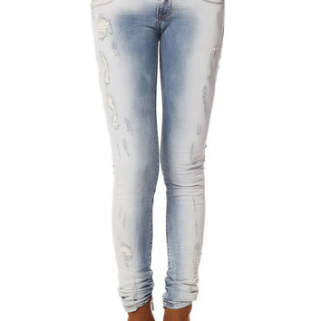 Q2 Light Wash Jeans With All Over Rips & Distressing