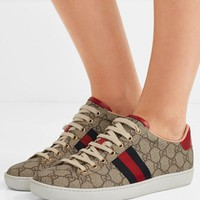 Gucci Ace Gg Supreme Metallic Watersnake-trimmed Logo-print Coated-canvas Sneakers #1034
