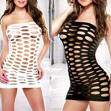Large size adult erotic underwear sexy hollow stretch sexy pajamas hole-fit one-piece