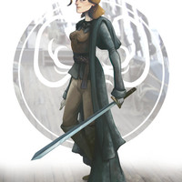Yara Greyjoy (Asha Greyjoy) from GAME of THRONES (Song of Ice and Fire) art painting print, signed by Leann Hill