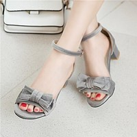 Open Toe Ankle Straps Bow Chunky Heel Women Sandals Pumps 2327