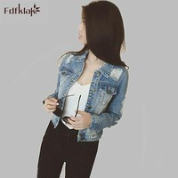 Trendy Autumn And Winter Women Denim Jacket 2017 New Vintage Short Female Jeans Coat Solid Slim Jackets Chaquetas Mujer A667 AT_94_13