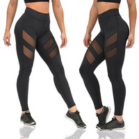 Women's Fashion Hot Sale Hollow Out See Through Patchwork Yoga Sports Leggings [9839922383]