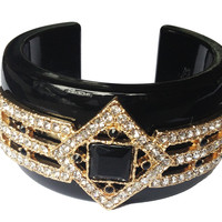 Black Bejeweled Princess Cuff Bracelet