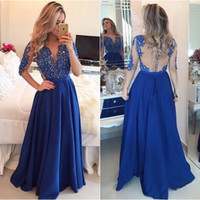 Blue Long Sleeve Prom Dresses 2016 Chiffon A Line Vestidos de festa Lace Applique Beading Sheer Back Prom Gowns with Ribbons Bow