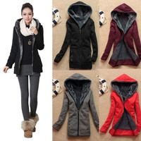 Chic Ladies Winter Warm Parka Cotton Slim Zipper Hoodie Jacket Coat (we added bigger size and more beautiful color to this jacket )