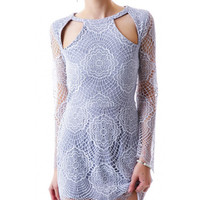 Crochet Long Sleeve Lace Cut-Out Mini Dress