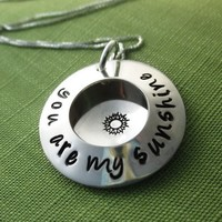 You are My Sunshine Locket Necklace with Sunshine Stamp in Sterling Silver, Personalized & Hand Stamped   akaoriginals - Jewelry on ArtFire