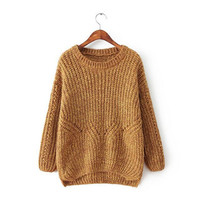 Women's Round Collar Long Sleeves Knitted Sweater