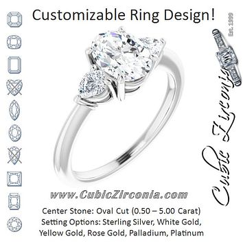 Cubic Zirconia Engagement Ring- The Zhata (Customizable 3-stone Oval Style with Pear Accents)