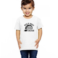 taco mexican holy shit i love tacos funny Toddler T-shirt