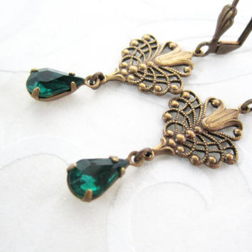 Victorian Earrings - Emerald Green Glass - Intricate Lily Filigree