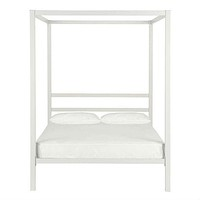 Full size Modern White Metal Canopy Bed Frame