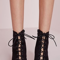 Missguided - Lace Up Heeled Boots Black