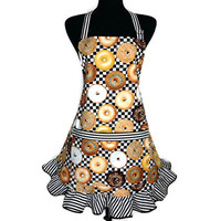 Retro Kitchen Apron for Women , Bagels on Black and White Check , Bakery Decor