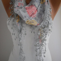 Light Gray Floral Shawl Scarf - Headband -with Lace Edge - Trending Summer