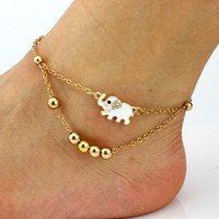 Gold Plated Animal Lucky Elephant Charm Double Beads Chains Anklet Foot Chain Set Crystal Rhinestone Foot Showcase (Color: Gold)