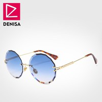 DENISA Vintage Round Sunglasses Women Men 2018 Fashion Rimless Glasses Retro Pink Sun Glasses Women UV400 zonnebril dames G18604