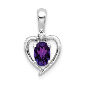 Genuine Oval Amethyst and Diamond Heart Pendant