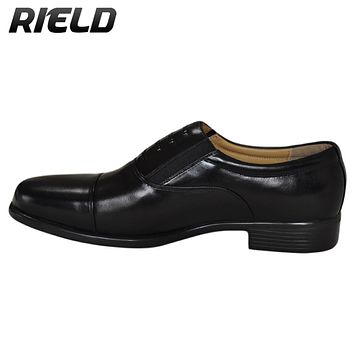 RIELD Men's 07BBS Genuine Leather Slip-on Loafers  Flat Oxford Shoes Moccasin