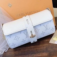 LV New fashion monogram print leather chain shoulder bag crossbody bag White