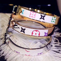LV Louis Vuitton Women Cool Louis Vuitton Leather Bracelet Accessories Jewelry