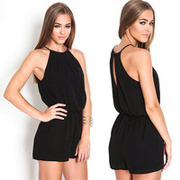 New Womens Clothing Overalls  Summer Brand Casual Black Sleeveless Halter Keyhole Back Jumpsuit Playsuit Rompers Black