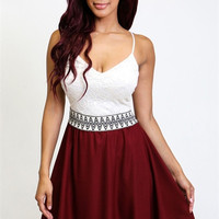 Adjustable spaghetti strap fit-and-flare skater dress