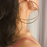 Heart & Circle Double Layered Hoop Earrings 1pair