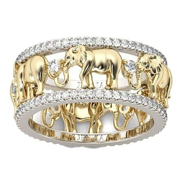 Pure Copper Antique Gold Color Lucky 3D Elephant Ring Romantic Zircon Ring For Man Woman Jewelry