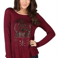 Long Sleeve Top with Tulip Back and Eye of Providence Screen with Foil