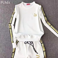 PUMA Autumn And Winter Fashion New Letter Print Long Sleeve Top And Pants Two Piece Suit White