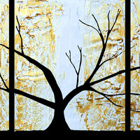 "ARTFINDER: The Tree of Sanctuary original painting extra large art triptych tree 3 panel wall art metallic gold copper white 3 panel canvas abstract 48 x 20 "" by Stuart Wright - "" The Tree of Sanctuary ""