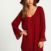 Embroidered Scoopback Crepe Dress