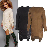 2016 Women Long Sleeve Oversized Ladies Knitted Long Sweater Jumper Winter Casual Dress