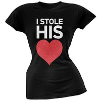 I Stole His Heart Black Soft Juniors T-Shirt