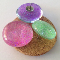 Decorative Glass Tacks, Lime Green,  Purple,  Pink Glitter