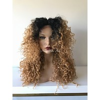 Root Dark Blond Waves  Human Hair Blend Multi Parting Lace Front Wig -41715