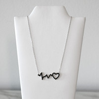 - A| Heart Beat Necklace Sterling Silver