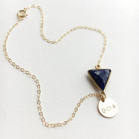 Initial Anklet with a Lapis or Onyx gemstone • Gemstone Anklet • Personalized Jewelry • Birthstone Anklet in 14k Gold Filled | 0066AM