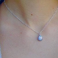 White Opal Pendant Necklace