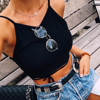 All-match Fashion Casual Solid Color Sleeveless Strappy Strap Vest Crop Tops