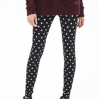 FOREVER 21 Polka Dot Leggings Black/Cream X-Small