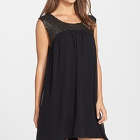 Women's FELICITY & COCO Sequin Detail Chiffon Babydoll Dress ,