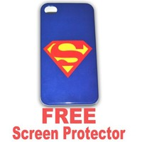 Superman Iphone 4g Case Hard Case Cover for Apple Iphone4 4g - Ec00144b + Free Screen Protector