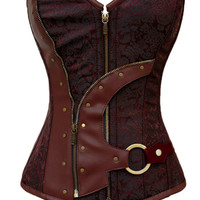Plus Size Brown Brocade Zip  Button Detail Corset